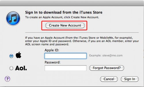iTunes Create New Account