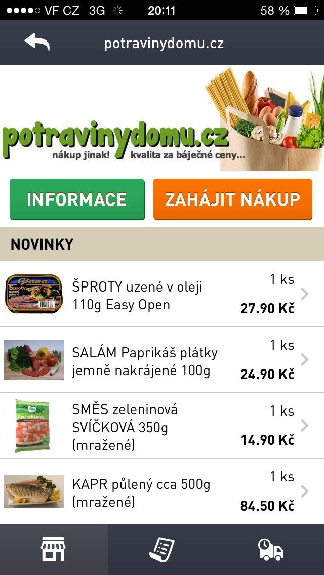 bfb24127cb2 Druhá obrazovka již slouží jako nákupní seznam. Po výběru obchodu