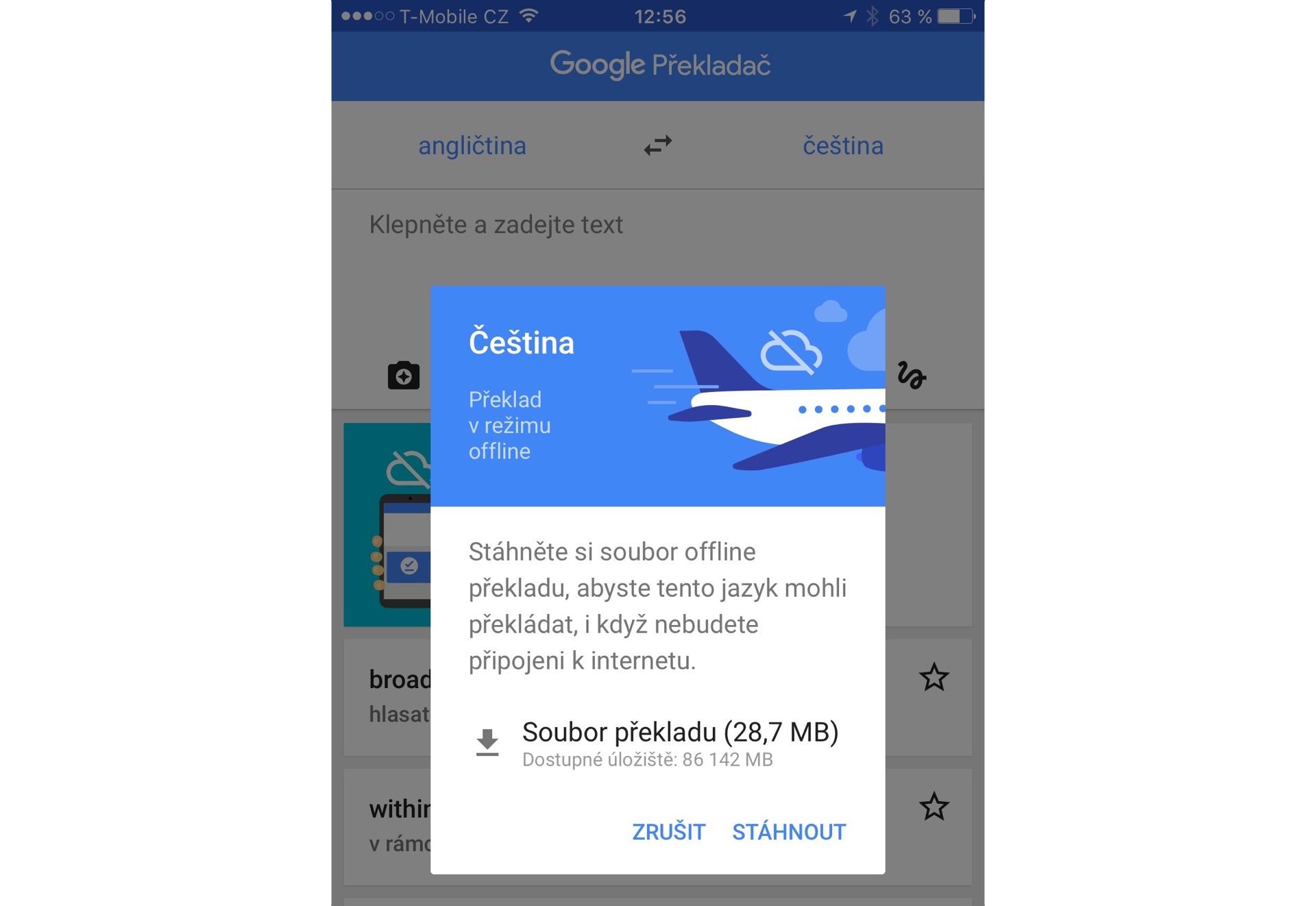 Google Translate nově umí v iOS překládat offline