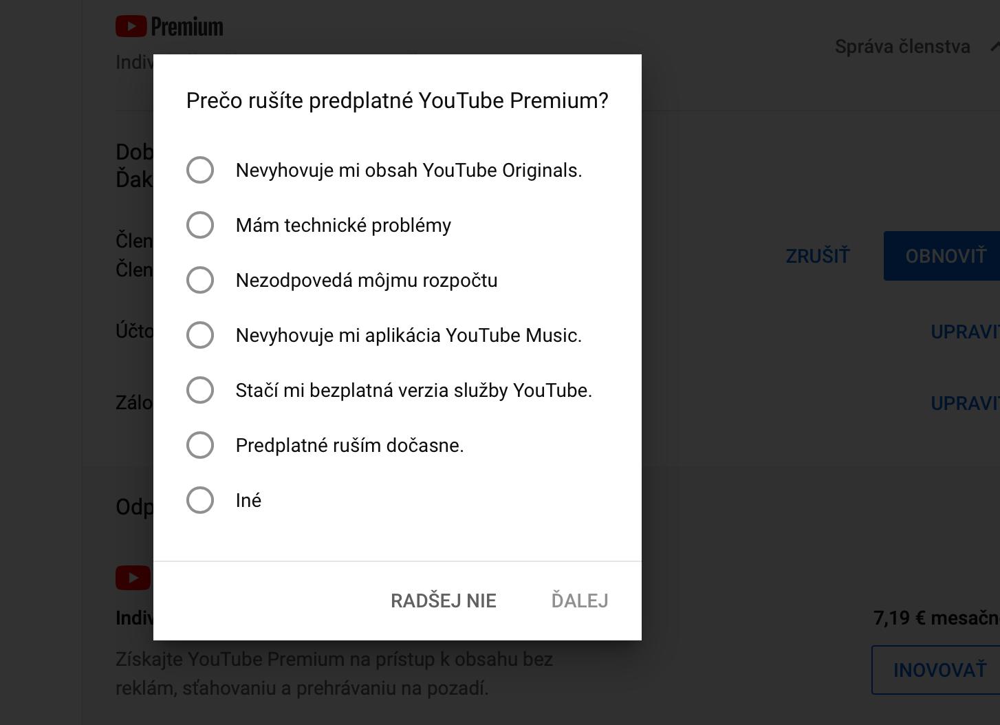 Jak pozastavit nebo úplně zrušit členství YouTube Premium
